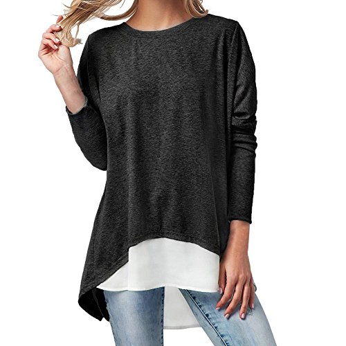 HHei_K Womens Casual 2PCS Long Sleeve Round Neck Back Slit Button Patchwork Curved Hem T-Shirt Camisole by HHei_K