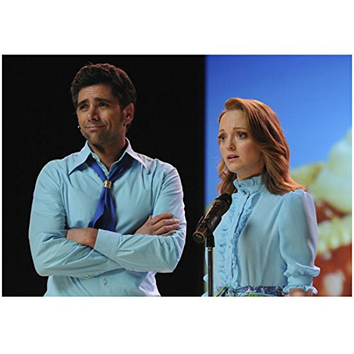 Jayma Mays 8 Inch x 10 Inch PHOTOGRAPH Glee (TV Series 2009 - 2015) at Microphone w/John Stamos kn