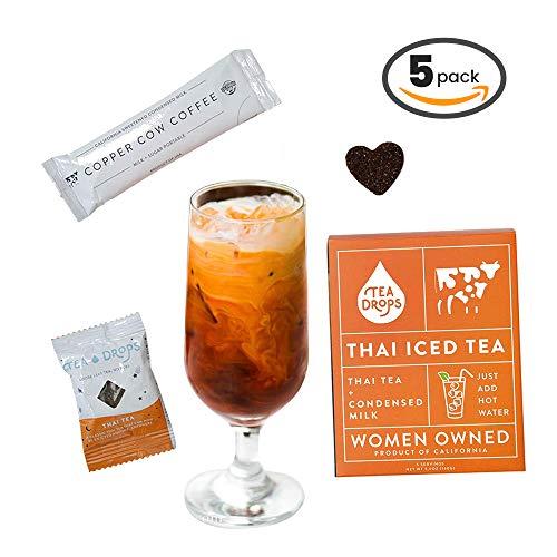 Tea Drops Thai Iced Tea   Authentic Instant Thai Tea Mix   Flavored Black Ice Tea + Condensed Milk Packet   Loose Leaf Tea 5 Pack - Best Flavor