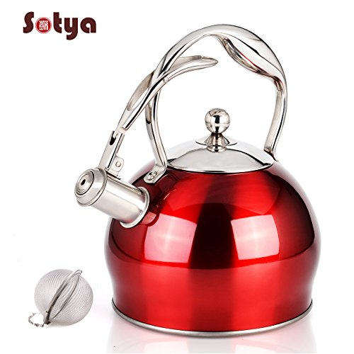 Best Stainless Steel Whistling Teakettle Tea Pot Kettle Stovetop Teapot Stove with detachable anti-hot gloves,2.75 Quart (RED)