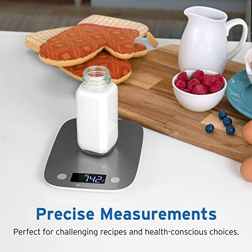 Etekcity Food Scale, Digital Kitchen Weight Grams and Ounces for Baking and Cooking, Medium/LED Display, Silver Stainless Steel 7