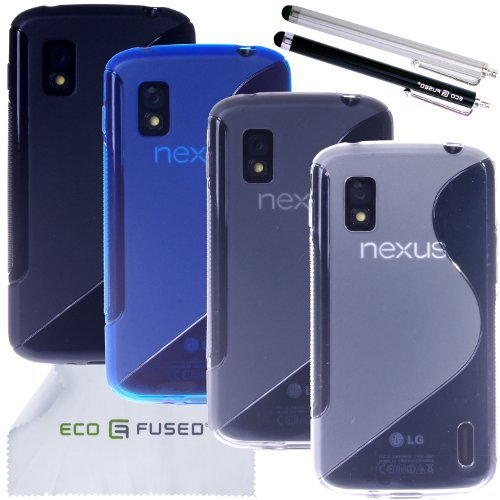 ECO-FUSED-7-pieces-Swave-TPU-Flex-Gel-Cover-Case-Bundle-for-LG-Nexus-4-E960-4-TPU-Cover-Cases-Black-Blue-Smoke-Clear-2-Stylus-Black-Silver-ECO-FUSED-Microfiber-Cleaning-Cloth-included