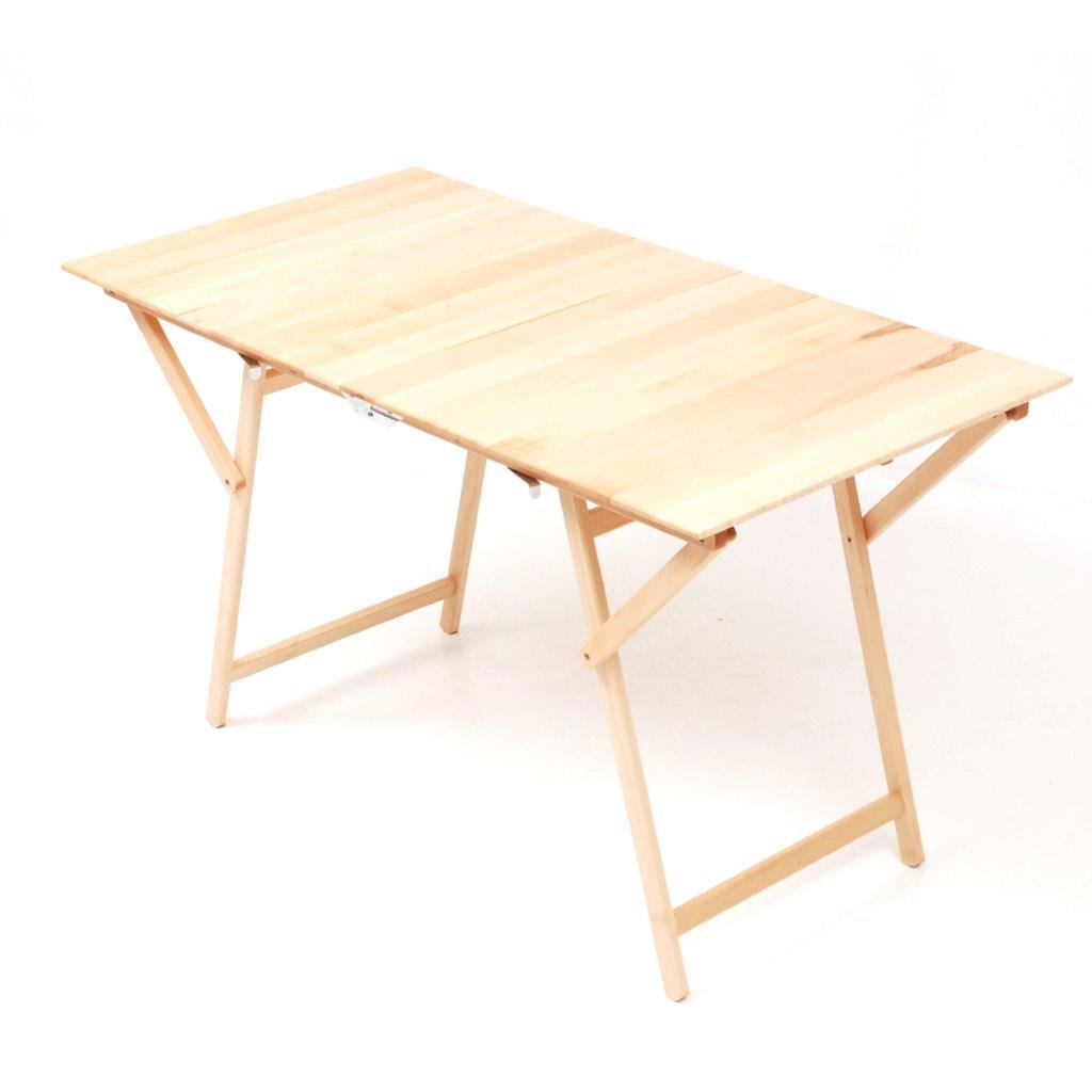 Tavolo da pranzo in legno di faggio, con piano a doghe di legno completamente chiudibile, regolazione di sicurezza. salmar