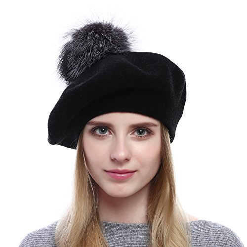 Winter Beret (QUEENFUR Women Wool Beret - Real Silver Fox Fur Pom Pom Beanies Winter Knit Cashmere Hats (Black))