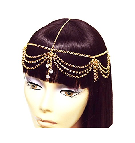 (Gold Tone Womens Rhinestone Accent Draped Head Chain Jewelry IHC1030G)