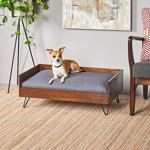 Great Deal Furniture Ophelia Mid Century Modern Ped Bed with Acacia Wood Frame