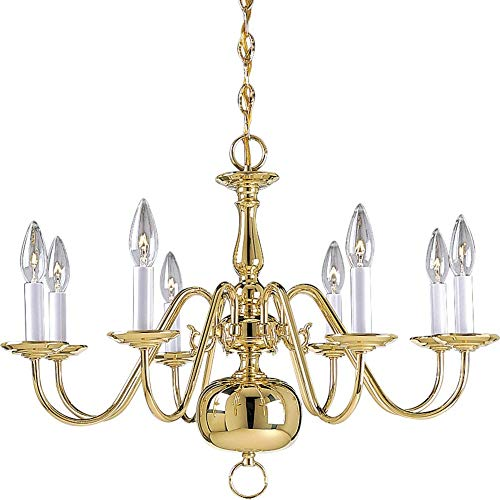 Progress Lighting P4357-10 8-Light Americana Chandelier with Delicate Arms and Decorative Center Column and Candelabra Lamps, Polished Brass