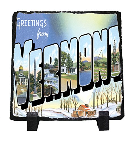 Greeting From Vermont Stone Slate Plaque Picture