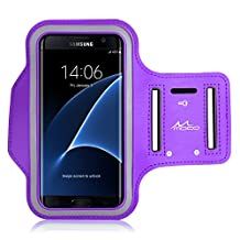MoKo Sports Armband for Cellphones up to 6.0 Inch - Compatible with Droid Turbo 2 / iPhone 6s Plus / ASUS Zenfone 2 / Nexus 6P / Galaxy S7 / Galaxy S7 Edge, Key Holder & Card Slot, Sweat-proof, PURPLE