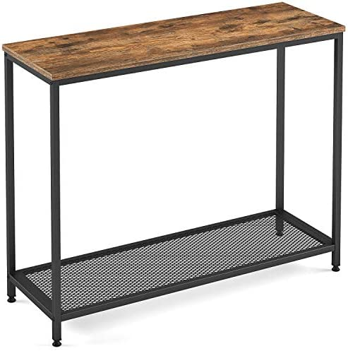 Ballucci Industrial Console Table, Hallway Entry Table with a Single Shelf for Living Room, Entryway, Corridor, or Sofa Side Table, Rustic Brown