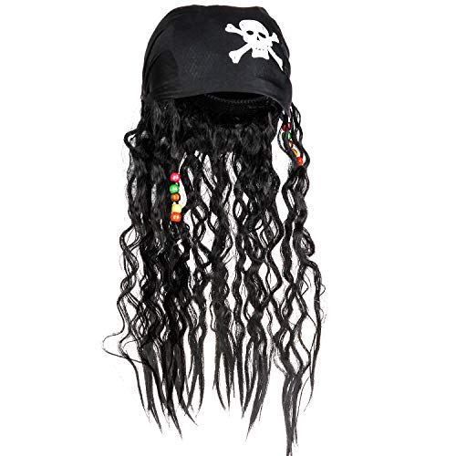 CatchStar Pirate Wig and Bandana Easy Wear Pirate Dreadlock Wig with Realistic Beaded Braids for Men Kid Halloween Costume Accessories -