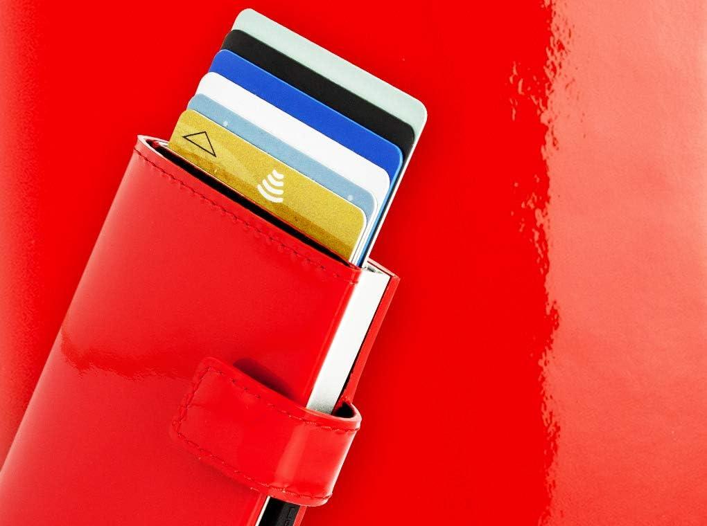 Cascade Wallet Snap Cartera Tarjetero Notas Aluminio y Cuero hasta 8 Tarjetas /Ögon Smart Wallets Azul Marino Recetas Protecci/ón RFID: Protege Tus Tarjetas de Robar