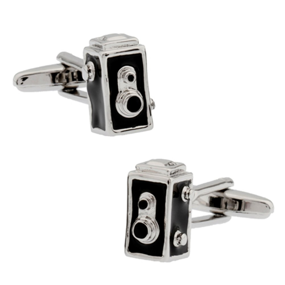 3D Vintage 2 Holes Box Camera Cufflinks Film Photography Cuff Links Vodafor 123029