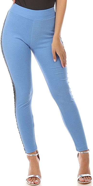 La Modeuse - Mallas de algodón de talla alta azul claro S/M ...