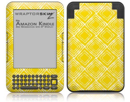 Wavey Yellow - Decal Style Skin fits Amazon Kindle 3 Keyboard (with 6 inch display)
