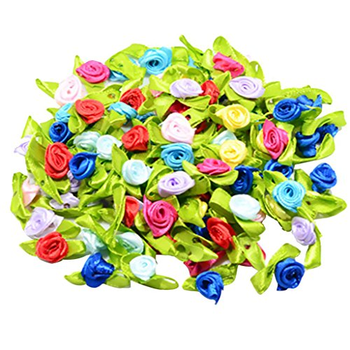 (MagiDeal 100 Pieces Satin Ribbon Tiny Rolled Rose Bud Flower with Green Satin Leaves Wedding Decor Craft Sewing Applique DIY)