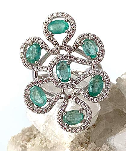 Sz 9, Genuine EMERALD (7 Gems) from Brazil and WHITE TOPAZ Natural Gemstones, 14k White GOLD and 925 Sterling Silver, Stunning Ring (3.4 x 2.4cm) Fine Jewelry * 55th Anniversary Gift.