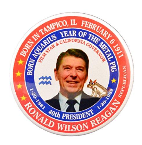 Pack-1 Ronald Reagan (Aquarius Metal Pig ) 40th President Pin-Back Button (2.25