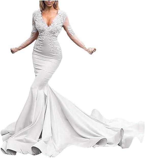 Helenebridal Illusions Long Sleeves Satin Mermaid Prom Dress Lace