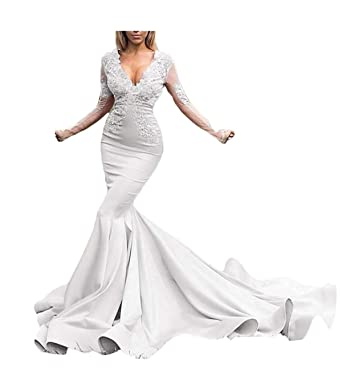 769c032a0422 HeleneBridal Illusions Long Sleeves Beaded Satin Mermaid Prom Dress Lace  Evening Formal Gowns Ivory