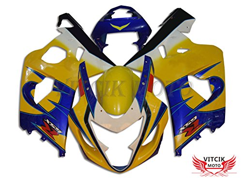 Fit for Suzuki GSX-R750 GSX-R600 K4 2004 2005 GSXR 600 750 K4 04 05 Plastic ABS Injection Mold Complete Motorcycle Body Aftermarket Bodywork Frame (Yellow & Blue) A082 ()