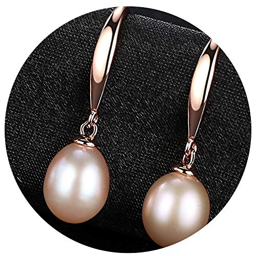 Simple And Stylish Sterling Silver Pearl Water Drop Earrings For Women Jewelry Anniversary Gift Send Free Box,Purple