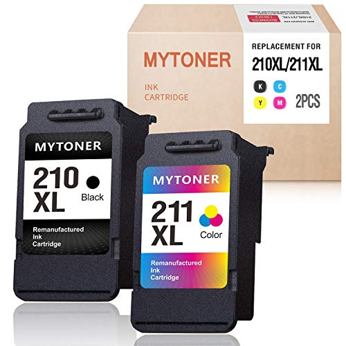 MYTONER Remanufactured Ink Cartridge Replacement for Canon 210XL 211XL Ink for PIXMA MX350 MP250 MX340 MP280 MP459 MX410 IP2702 MP240 MX360 MP490 MP270 MP230 Printer (Black,Tri-Color) (Canon Mp495 Ink)