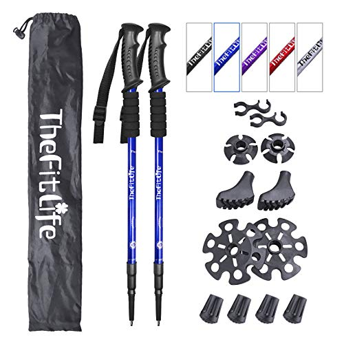 TheFitLife Nordic Walking Trekking Poles - 2 Packs with Antishock and Quick Lock System, Telescopic, Collapsible, Ultralight for Hiking, Camping, Mountaining, Backpacking, Walking, Trekking (Blue) ()