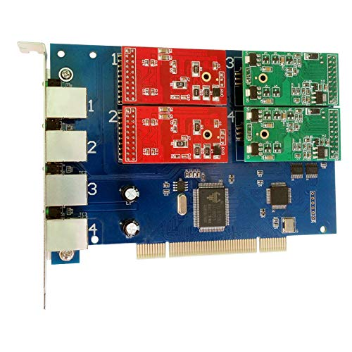 FXS FXO Card with 2 FXO + 2 FXS Ports,Quad Span Analog Card Supports Freepbx Elastix PCI Card