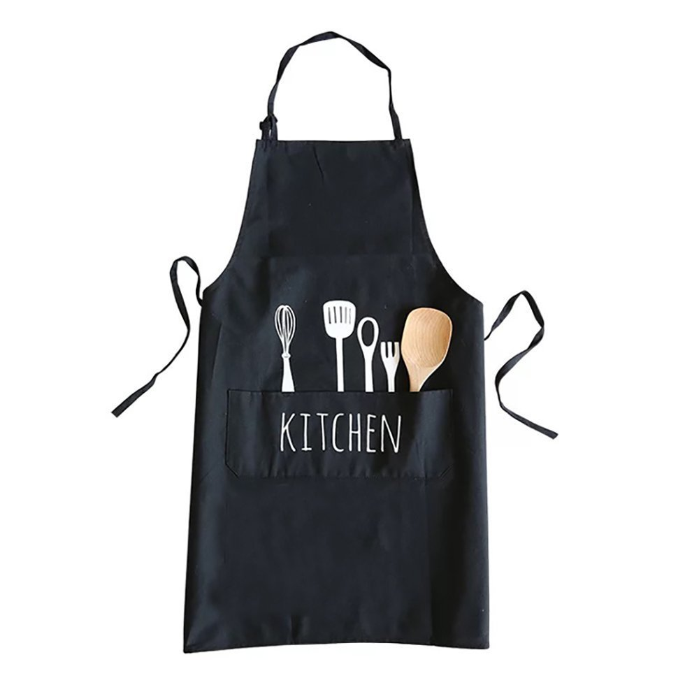 Kitchen Cooking Apron with pockets, 28 x 23 Inch Creative Fork & Spoon Pattern Baking BBQ Apron, Adjustable Neck Straps Working Uniform, Ideal for Men Women Chef Waiter Beautician (Black)