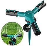 NiceFit Lawn Sprinkler, Automatic 360 Rotating Adjustable Garden Water Sprinklers Lawn Irrigation System with Leak-Proof Design Durable 3 Arm Sprayer, Spike Base