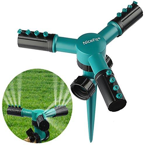 - NiceFit Lawn Sprinkler, Automatic 360 Rotating Adjustable Garden Water Sprinklers Lawn Irrigation System with Leak-Proof Design Durable 3 Arm Sprayer, Spike Base