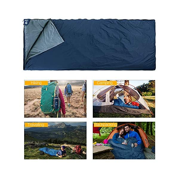 ieGeek Sleeping Bag, Lightweight Envelope Sleeping Bags with Compression Sack Portable Waterproof for 3 Season Travel Camping Hiking Backpacking Outdoor Activities,Ultra-Large for Kid/Adults 4