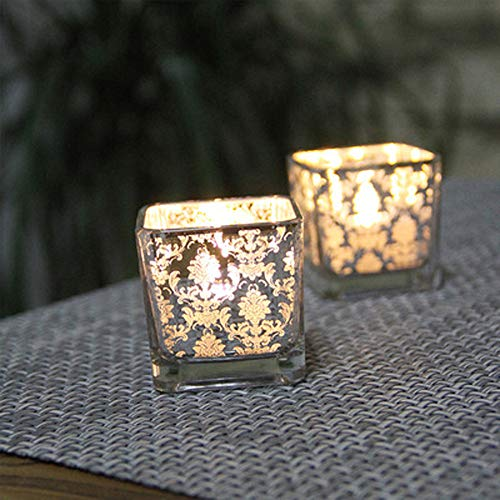 NszzJixo9 Glass Candlestick - Simple Floral Light Gold Square Romantic Candlelight Dinner, Crystal Window Candles Stander, for Wedding & Dinning Table Centerpieces Home Decoration (Unity Red Candle)