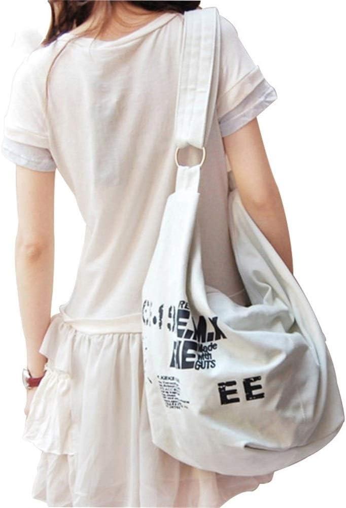 Color : White, Size : 24x47x14cm ERNANGUA Over Shoulder Bag Women Female Irregular Crossbody Bag Girls Canvas Handbag Ladies Messenger Bag Large Casual Bag
