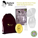 Nature Bliss Manual Silicone Breastfeeding Pump (Breast Milk Saver) With Cover Lid, Silicone Baby Toothbrush and Luxury Pouch | BPA Free and 100% Food Grade Silicone, Nursing baby, Mom gift