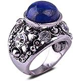 Retro Lapis Lazuli Stone Cezch Rhinestone Antique Silver Plated Ring Gift Unisex LOVE STORY (9#)