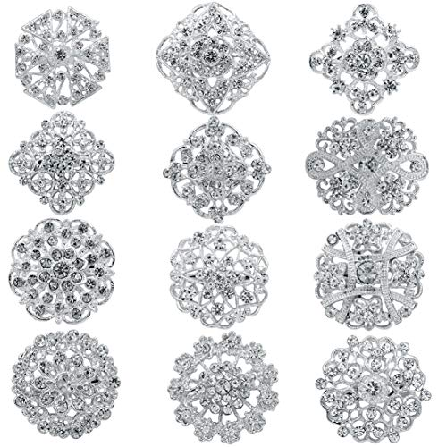 - 12 Pieces Silver/Gold Plated Crystal Brooches, Wedding Bridal Brooch Crystal Button Brooches Scarves Buckle Collar Pin Mixed Imitation Rhinestone
