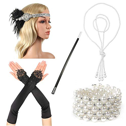 Beelittle 1920s Accessories Headband Earrings Necklace Gloves Cigarette Holder -