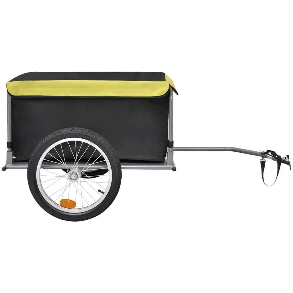 vidaXL Remolque de carga para bicicletas negro y amarillo 65 kg ...
