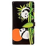 Shagwear Women's Large Zipper Wallet Playing Pandas Black