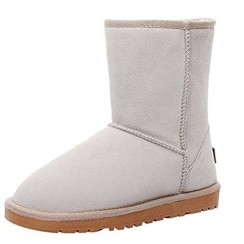 rismart Women Classic Mid-Calf Faux Fur Lined Suede Snow Boots Many Colors Available Beige oGMWC