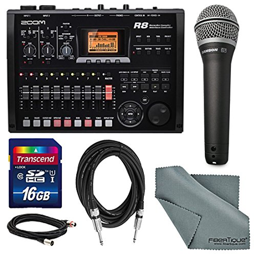 Zoom Studio Recording (Zoom R8 8-Track Digital Recorder/Interface/Controller/Sampler with Samson Q7 Supercardioid Neodymium Dynamic Handheld Microphone and Accessory Bundle)