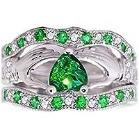 jindarat 3Pcs Irish Claddagh Celtic Heart Emerald 925 Silver Wedding Ring Set Size 6-10 (7)