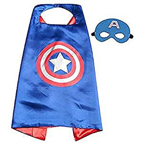 Kids Captain America Mask (Dress Up Comic Cartoon Superhero Costume with Satin Cape and Matching Felt Mask (Captain America))