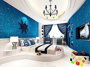 Fyios Wallpaper Blue Star Mond Himmel Vlies Tapete Kinderzimmer ...