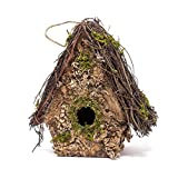 Tom Floral A-Frame Twig Lichen Moss 8 Inch Artificial Hanging Birdhouse