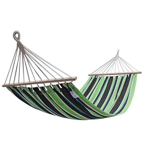KingCamp Hammock Cotton Fabric Canvas 220lbs Swing Bed with Hardwood Spreader Bar Tree Hanging Colorful Stripes for Outdoor Camping Patio Yard Beach by KingCamp