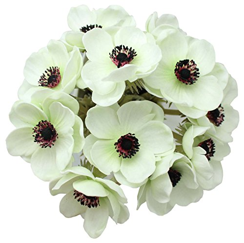 ENGE 10 Heads Mini Artificial Anemone Wedding Bridal Bouquet Home Flower Grass Rose (10, greenin Wite)