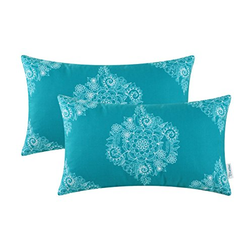CaliTime Pack of 2 Cozy Bolster Pillow Cases Covers for Couch Bed Sofa Manual Hand Painted Print Vintage Mandala Flora 12 X 20 Inches Teal